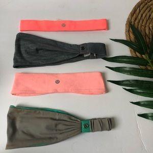 4 Lululemon headbands Pink/gray/teal
